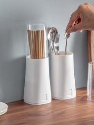 日式創意筷子筒家用筷子盒塑料筷籠帶蓋瀝水餐具收納盒防塵立式 電購3C