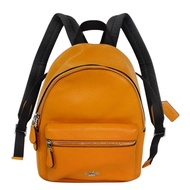 COACH柑橘色荔枝紋全皮前口袋小款後背包