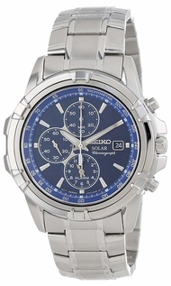 Seiko Watches Seiko Mens SSC141 Stainless Steel Solar Watch with Blue Dial