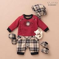 【金安德森】秋冬新生兒多件組禮盒-聖誕熊長兔裝(紅色)