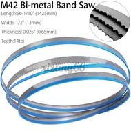 """M42 Bi-metal Band Saw Blades Cutting Metal 56-1/10 x 1/2"""" x 14tpi/1425*13*0.65mm"""