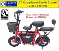 UL2272 Fiido Q1 * LTA Compliance Electric Scooter * Carry Up to 2 Children * 2 or 3 Seats * Baby Sea