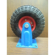 *中崙五金【附發票】專業 8吋/10吋 PU輪 風輪 打氣輪胎 手推車輪 獨輪車輪 (固定式 附座)雙軸承設計