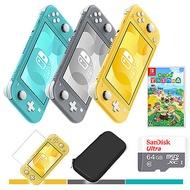任天堂 Switch Lite 主機+集合啦!動物森友會+64G記憶卡《主機收納包+遊戲卡帶盒+玻璃保護貼》灰色