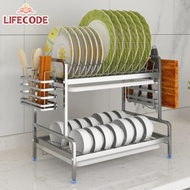 LIFECODE《收納王》304不鏽鋼二層方管碗碟架+砧板架+筷子筒