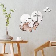 Love Heart Mirror Wall Stickers Creative Home Mirror Wall Stickers