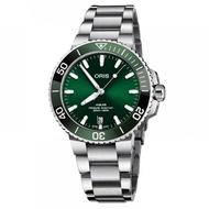 【ORIS 豪利時】Aquis 時間之海潛水300米日期機械錶-綠水鬼x銀/39mm(0173377324157-0782105PEB)