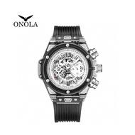 【ONOLA】義大利品牌 八角鏤空黑色透明運動時尚男錶-ON6812