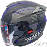 RSV R07 騎兵 平光黑藍 半罩式安全帽 雙層鏡片 全可拆洗