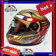 Helm Kyt K2 Rider Marvel Ironman Red Maroon Gold Double Visor Full Face