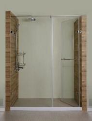 淋浴拉門/浴室拉門系列/橫推門無框清透強化玻璃(含按裝