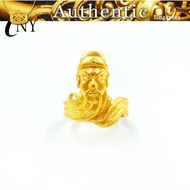 Pure yellow 916 gold true 916 gold sand 916 gold Guan Gong ring yellow 916 gold thick 916 gold men's open ring jewelry