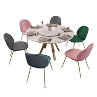 Nordic Marble Round Table small family simple modern dining table with turntable round dining tables