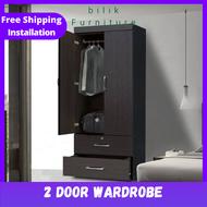 bilik- 2 door wardrobe / 2drawers/ key lock/ mirror door wardrobe/ almari 2 Door Wardrobe / 2x6ft Wardrobe / Almari baju / Almari 2 pintu / Almari Baju Kayu / Berlaci / Almari pakaian