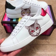 Gucci 古馳高品質一隻貓小白鞋女真皮米奇百搭系帶愛心刺繡平底情侶鞋女