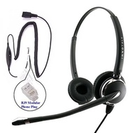 RJ9 Headset - Deluxe Pro Binaural Headset + 8 Selection Switches RJ9 Headset Adapter for ANY phones jack