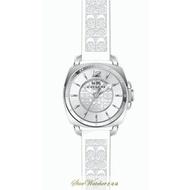 COACH手錶時尚精品錶 COACH BOYFRIEND SMALL款,編號:14502093,銀白色錶面白色橡膠錶帶款