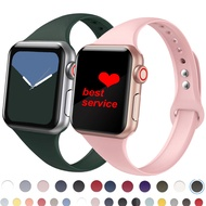Soft Silicone Strap for Apple Watch 6 Band 44mm 40mm 42mm 38mm Slim Silicone Sport Wristband Bracelet for i Watch series band SE 5 4 3 Accessories