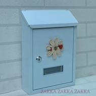 [HOME]信箱 簡約純白瓢蟲造型鍛鐵信箱、意見箱 直邊信箱 白色信箱 波斯花信箱