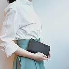 CLEDRAN| 日系中性L型皮革長夾 藍色