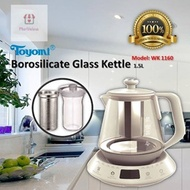NEW! TOYOMI Borosilicate Glass kettle 1.5L [Model: WK 1160] 100% Satisfaction / 1 Year Warranty