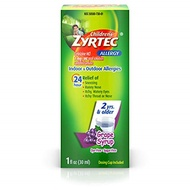 ▶$1 Shop Coupon◀  Zyrtec 24 Hr Children's Allergy Syrup with Cetirizine, Dye- & Sugar-Free, Grape Fl