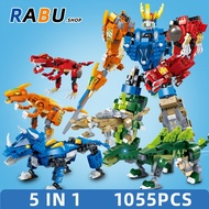 Transform Model Dinosaur 5in1 Bricks Jurassic Park Compatible With Lego Building Blocks Kids Puzzle Toys