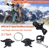 1 Set 9-Speed Rear Dial+Front Dial+Visible Finger Dial A5 3x9 27 Speed Derailleurs Groupset 9s Shifter Lever Front Derailleur 9 Speed Rear Switches Suit Alivio M4000 Deore M590 Back Dial