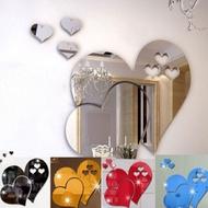 Mirror Three-dimensional Heart Shape Wall Stickers Bathroom Decoration Mirror