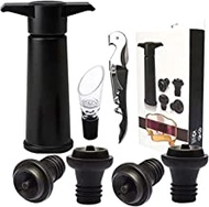 Nrpfell Wine Stoppers Set, Wine Saver Vacuum Pump Preserver - With 4 Bottle Stoppers, 1 Wine Aerator & 1 Bottle Opener
