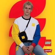 Levis X LEGO 男款 重磅大學T 寬鬆休閒版型 樂高積木通用軟墊 附限定版積木 樂高色塊拼接