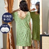 baju tidur seksi Modal dengan skirt tidur musim panas pendek lengan saiz besar 200jin pajamas seksi pakaian rumah panas