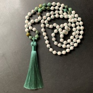 6mm Mala Necklace 108 Natural Stone White Howlite African Tourquoise Stone Bead Prayer Mala Beads 108 Necklace Bracelet Tassel Knotted