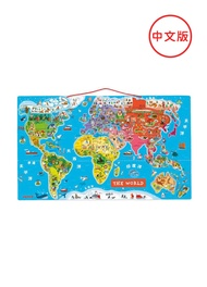 【法國Janod】磁性木質拼圖-世界地圖(中文版)