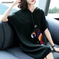 COCOEPPS 2020 New Summer Dress Fashion Cartoon KoreanStyle Large Size Women Short Sleeved Loose Hoodie AA