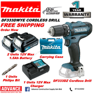 MAKITA Power Tools DF333D DF333DWYE 12V Cordless Driver Drill Combo Set RM359 *Included: 2 x 12Vmax 1.5Ah Battery, 1 x Charger and Carrying Case / ( 1 Battery ) RM 329 / ( Solo ) RM 219  FOC. Philip Bit『1 Year Warranty Original Makita Malaysia Products』