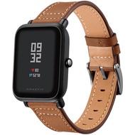 E+家生活館  適用於AMAZFIT華米米動手表青春版智能手環頭層真皮手錶錶帶20mm