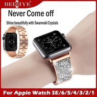NewWays Compatible สายนาฬิกา สำหรับ Apple Watch SE 6 Band 40mm 44MM Sparkling Bling Crystal Bracelet สาย สำหรับ Apple Watch Band 38mm Series 6 SE 5 4 3 2 1 i watch Bands 42mm Womens