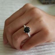 Women Ring Senora Black Original Pure Silver 925 Cincin Silver Perempuan
