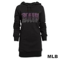 MLB-紐約洋基隊燙鑽長版連帽T恤-黑(女)