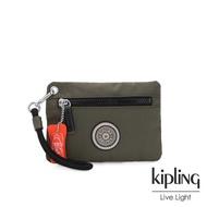 【KIPLING】率性深褐軍綠簡約手提拉鍊零錢包-HALASI