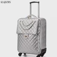 KLQDZMS New20''24Inchน่ารักCabinกระเป๋าเดินทางPU Travelกระเป๋าเดินทางล้อส่วนบุคคลกระเป๋าล้อเลื่อนร้อนขาย