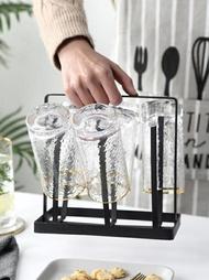 304不銹鋼杯架 晾杯置物架 廚房瀝杯架水杯濾水架掛架 酒杯收納架  夏末之戀