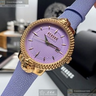 VERSUS VERSACE手錶,編號VV00312,38mm玫瑰金圓形精鋼錶殼,紫色菱格紋錶面,紫色真皮皮革錶帶款