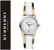 Burberry White 28mm Burberry Check Leather Ladies Watch BU1395