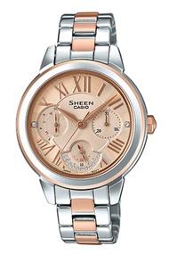 Casio Sheen นาฬิกาข้อมือผู้หญิง สายสแตนเลส รุ่น SHE-3059,SHE-3059SPG,SHE-3059SPG-9A - สีเงินสลับโรสโกลด์