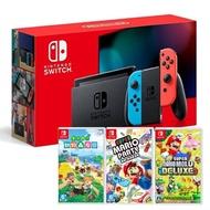 【預購】Nintendo Switch 主機 電光紅藍 (電池加強版)+動物森友會 中文版+超級瑪利歐派對 亞版 中文版+超級瑪利歐兄弟U中文豪華版