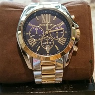 Michael Kors Two-Tone - Black Chronograph Bradshaw Authentic and Pawnable MK watch- Mens Watch OR Womens watch for Formal or Casual