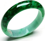 Classic Retro Oriental Style Natural Jade Bangle Laokeng Myanmar Floating Green Round Bar Link Bracelet,Crystal Natural Stone For Men Women Holiday Gift. (Size : 52-54mm)