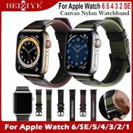 สายนาฬิกา Canvas Nylon Watchband For Apple Watch 6 SE band 40mm 44mm i Watch ซีรีย์ 3 2 1Wristband 38mm 42mm สายนาฬิกา Sport Leather Bracelet Strap for apple watch series 6 5 4 3 2 SE Watch Strap acceccories